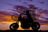 Silhouette woman motorcycle ride side — Stock Photo