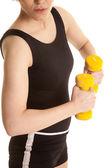 Corpo de amarelo pesos de mulher latina — Fotografia Stock