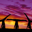 Silhouette dance handstands — Stock Photo
