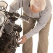 Elderly mcheck motorcycle — Stock Photo #40812527