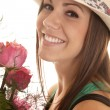 Woman close smile hat roses — Stock Photo #41161119