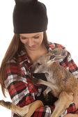 Woman in beanie and plaid shirt baby kangaroo — Stock Photo