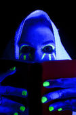 Woman black light book eyes look over — Stock Photo