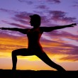 Silhouette yoga woma lunge arms out — Stock Photo #41371747