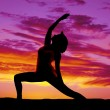 Stock Photo: Silhouette yogwomlunge one arm up