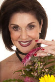 Woman with flower close big smile — Stock Photo