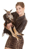 Woman leather jacket kangaroo both look — Stock Photo
