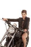 Woman leopard dress motorcycle sit close — Stock Photo