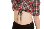 Woman plaid shirt stomach — Stock Photo