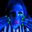Woman black light hands by face — Stock Photo