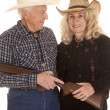 Elderly couple western gun close — Stock Photo