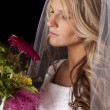 Woman wedding dress flowers side look down — Stock Photo