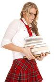 School girl struggle to hold books — Foto de Stock