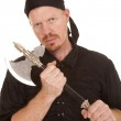Man pirate hold axe looking — Stock Photo