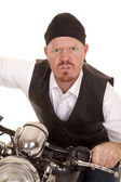 Man bandana motorcycle close mean face — Stock Photo