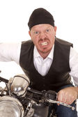 Man bandana motorcycle close really mad — Stock Photo