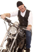 Man bandana motorcycle sit crazy face — Stock Photo