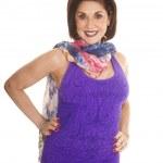 Woman purple tank top scarf smile — Stock Photo #41961597