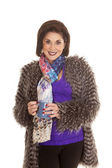 Woman fur coat hold mug both hands smile — Stock Photo