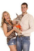 Couple with kangaroo — Photo