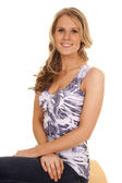 Woman blue and white tank — Stock Photo