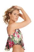 Kvinna blomma topp — Stockfoto