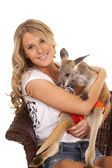 Woman with kangaroo — 图库照片