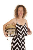 Woman  football and helmet — Stock Photo