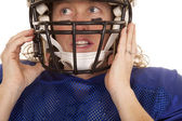 Woman football player helmet — Stock Photo