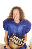 Woman hold football helmet — Foto Stock
