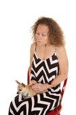 Woman small dog chevron dress — Stock Photo