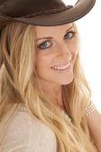 Woman blond close hat smile — Stock Photo