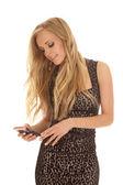 žena gepard tisk šaty textu pohled dolů — Stock fotografie