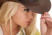 Cowgirl close head hat green plaid touch hat — Stock Photo