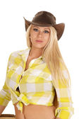 Cowgirl green plaid shirt close serious look — Stock Photo