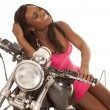 African American woman motorcycle — Stock Photo