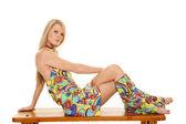 Hippie sitting serious — Stock Photo