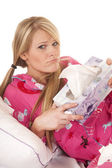 Woman pink pajamas tissue hold box frown — Stock Photo
