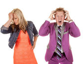 Man and woman colorful frustrated — Stock Photo