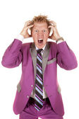 Man in purple suit frustrated. — Foto Stock