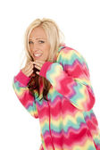 Woman in colorful pajamas stand laugh — Stock Photo