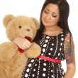 Pregnant woman holding her teddy bear — Stock Photo #47652011