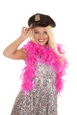 Woman in police hat — Stock Photo