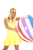 Woman holding beach ball — Stock Photo