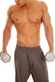 Man no shirt weights close showing chin and nose — Foto Stock