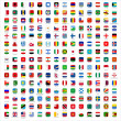 Flags of the world - rounded rectangles icons — Stock Vector