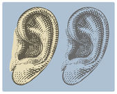 Human ear in engraved style — Stockvektor