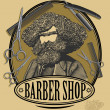 Vintage barber shop sign board with bearded man, scissors, razor and comb in engraved style — Stock Vector