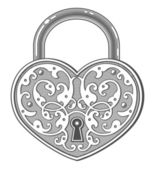 Heart shaped padlock in vintage engraved style — Stock Vector