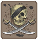 Pirate skull with swords (Jolly Roger) — Stock Vector
